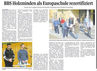 Vorschaubild zur Meldung: BBS Holzminden als Europaschule rezertifiziert