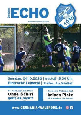 Foto zur Meldung: Germanen-Echo +++ Aktuell +++ Nr.03 - Eintracht Leinetal  - 04.10.2020