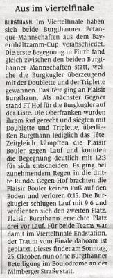 Bild der Meldung: Aus für Burgthanner Teams im Viertelfinale des Bayernhältzamm-Cup