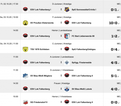 Foto zur Meldung: Ergebnisse - Fußball vom Wochenende
