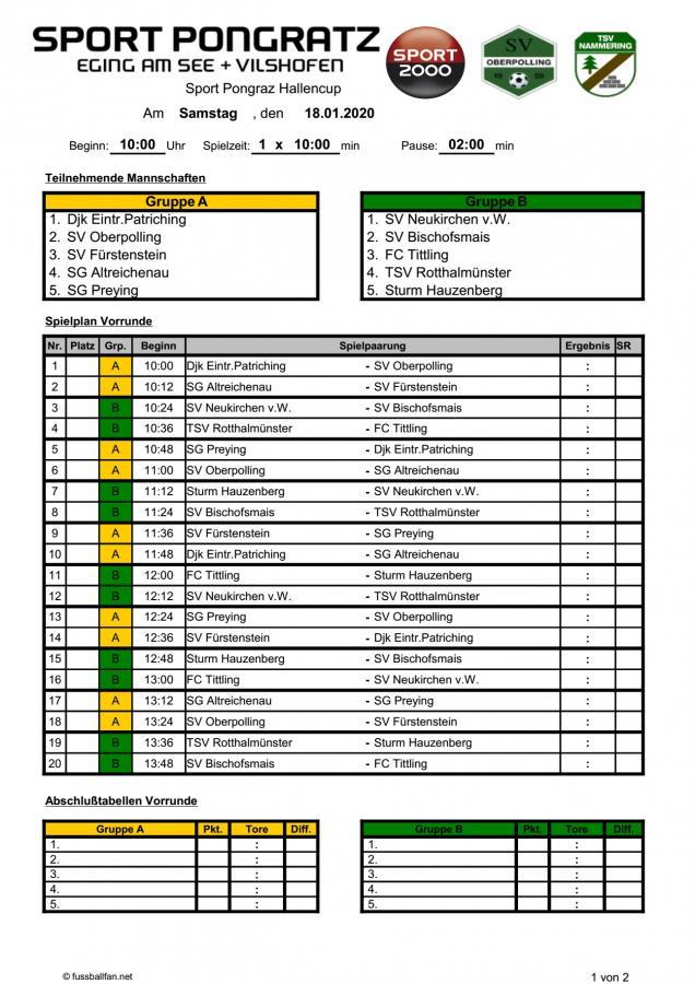 Turnierplan Sport Pongratz Hallencup 2020 Teil1