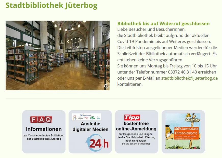 Homepage der Stadtbibliothek Jüterbog