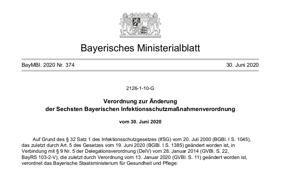 Änderung und Verlängerung der 6. BayIfSVO vom 30.06.2020