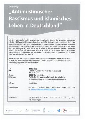 """Foto zur Meldung: Workshop: """"Antimuslimischer Rassismus und islamisches Leben in Deutschland"""" am 13. Oktober 2020"""