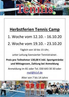 B1 Tennis Camps Herbst 2020