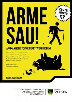 Arme Sau! – Plakat des Sächsischen Sozialministeriums