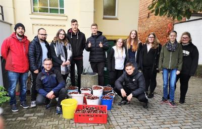 Stadt Perleberg   Stolz präsentiert die Klasse und deren Betreuer die 10 gesammelten Kastanieneimer fürden Tierpark.