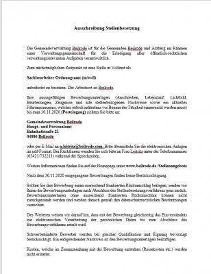 """Vorschaubild zur Meldung: Stellenausschreibung """"Sachbearbeiter Ordnungsamt"""" in Beilrode"""