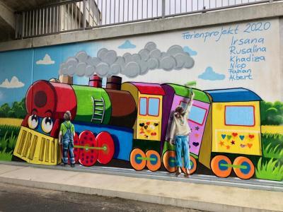 Vorschaubild zur Meldung: Bahnunterführung in Walddrehna wurde von Kindern und Jugendlichen künstlerisch gestaltet