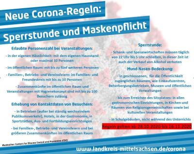 Foto zu Meldung: Neue Allgemeinverfügung des Landkreises Mittelsachsen - ab 28.10.2020