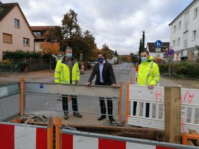Foto zur Meldung: Erneuerung der Trinkwasserleitung in Nauheim geht voran