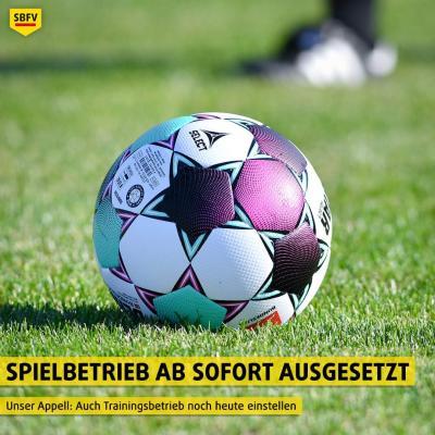 Bild der Meldung: Spielbetrieb im Amateurfußball des SBFV wird ausgesetzt