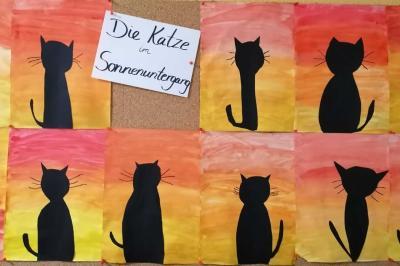 Foto zur Meldung: Klasse 3d: Die Katze im Sonnenuntergang