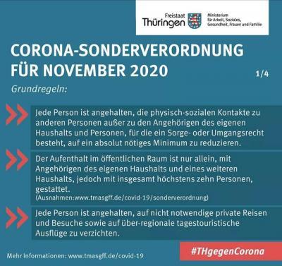 CORONA-SONDERVERORDNUNG ab 02.11.2020