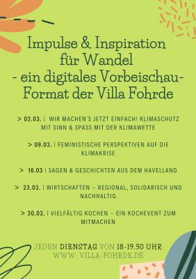 Foto zur Meldung: Impulse & Inspiration für Wandel – ein digitales Vorbeischau-Format der Villa Fohrde