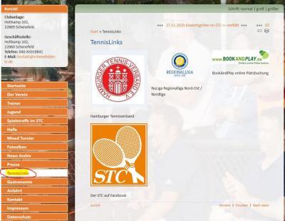 """Foto zur Meldung: neue Rubrik """"TennisLinks"""" auf der Startseite"""