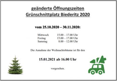 Vorschaubild zur Meldung: Grünschnittplatz - geänderte Zeiten u. Annahmetermin der Weihnachtsbäume