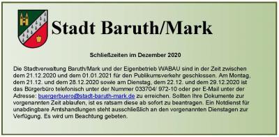 Schließzeiten der Stadtverwaltung Baruth/Mark im Dezember 2020