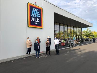 Foto zur Meldung: Gemeindevorstand besichtigt neue ALDI-Filiale in Nauheim