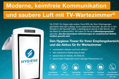 Moderne, keimfreie Kommunikation und saubere Luft mit TV-Wartezimmer®
