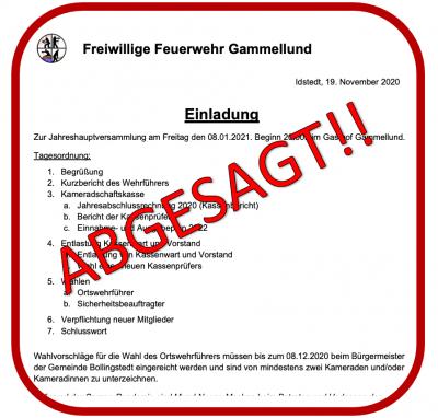 Foto zur Meldung: Absage Jahreshautversammlung der FFw Gammellund 08.01.2021