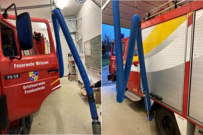 Vorschaubild zur Meldung: Neue Abgasabsauganlagen für die Feuerwehrgerätehäuser in Haselberg und Frankenfelde