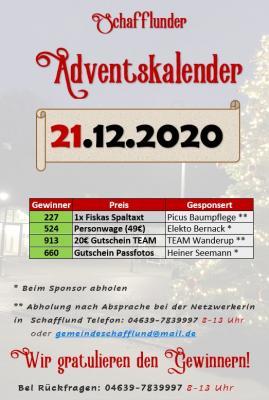 Foto zur Meldung: Adventskalender - Gewinner 21.12.