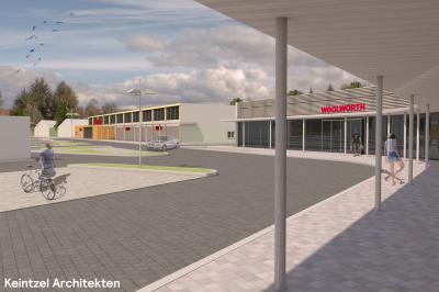 Konzeptzeichnung des geplanten Fachmarktzentrums I Keintzel Architekten