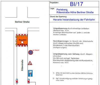 Verkehrsrechtliche Anordnung mit Bildausschnitt der Baufeldsperrung