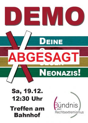 Vorschaubild zur Meldung: Bekanntmachung: Absage der Demo vom Bündnis gegen Rechtsextremismus