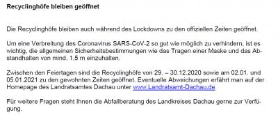 Vorschaubild zur Meldung: Recyclinghöfe bleiben geöffnet!