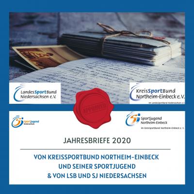 Foto zur Meldung: Jahresbriefe von LSB und SJ Niedersachsen & KSB und seiner Sportjugend 2020