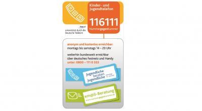 Vorschaubild zur Meldung: Telefonnummern Kinder- und Jugendtelefon 116111