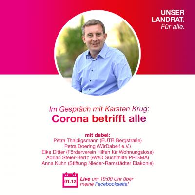 """Das Bild zeigt das Plakat zur Meldung: """"Corona betrifft alle"""" - EUTB im Gespräch mit Karsten Krug"""