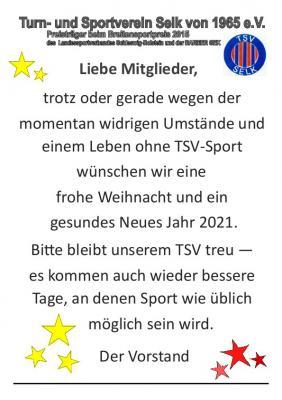 TSV Selk: Grußworte des Vorstands