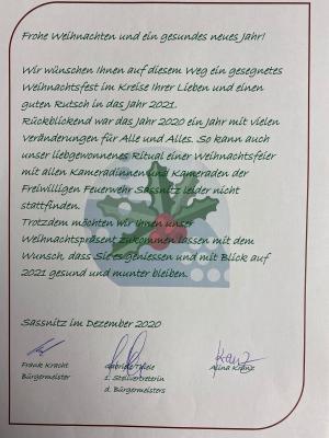 An die Kameradinnen und Kameraden der FFw Sassnitz