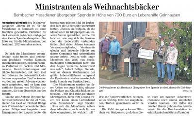 Messdiener Bernbach Spenden 700,- Euro