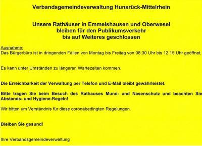Bild der Meldung: Rathäuser in Emmelshausen und Oberwesel bleiben für den Publikumsverkehr bis auf Weiteres geschlossen