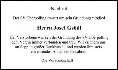 Vorschaubild zur Meldung: SV Oberpolling trauert um sein Gründungsmitglied Herrn Josef Gsödl