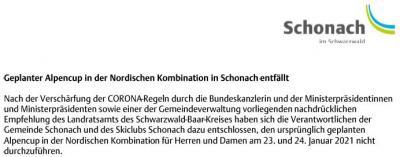 Absage Alpencup in der Nordischen Kombination in Schonach