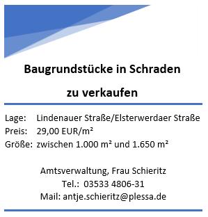 Neu geschaffene Baugrundstücke in Schraden zu verkaufen!