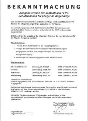 Foto zur Meldung: FFP2-Schutzmasken für pflegende Angehörige - Ausgabetermine in der VG Bad Brückenau