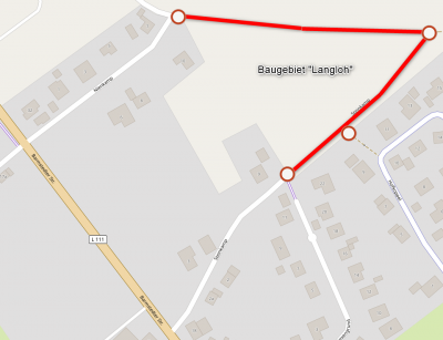 """Sperrungen um das Baugebiet """"Langloh"""" (Quelle Kartenmaterial: openstreetmap.de, bearbeitet)"""