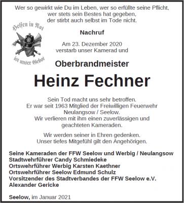 Gedenken an Oberbrandmeister Heinz Fechner