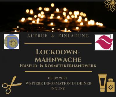 Aufruf & Einladung zur Teilnahme an Lockdown-Mahnwache