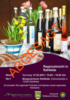 Foto zu Meldung: Regionalmarkt 2021 in Rehfelde abgesagt!