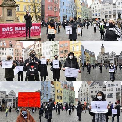 """""""Mahnwache in Schwarz"""" - 200 Friseure mit stillem Protest auf Jenaer Markt"""