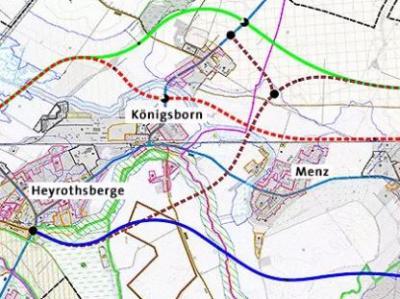 Lageplan - Varianten der Ortsumgehung