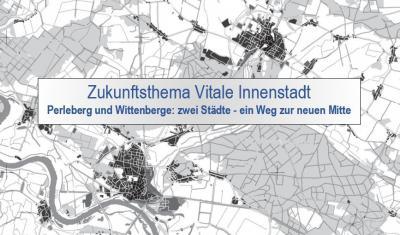Stadt Perleberg | Geografische Karte zeigt die Städte Perleberg (oben) und Wittenberge (unten) aus der Vogelperspektive