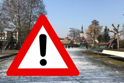 Zugefrorene Fließe im Spreewald - Stadt warnt vor Betreten der Einsflächen